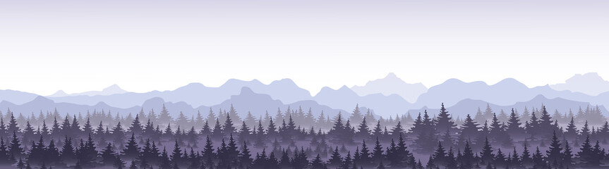 Vector illustration of beautiful panoramic view blue mountains in the fog with pine forest.