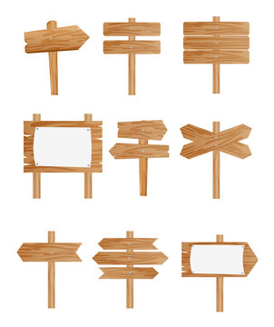 Vector illustration set of different wooden street signs, pointers collection on white background in flat style.