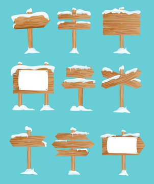 Vector illustration set of wooden street signs in the snow, pointers collection, winter, snow in flat style.