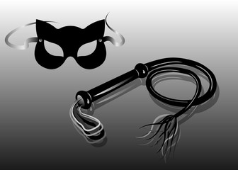 Fetish and bondage stuff for role playing and BDSM: Carnival fetish cat mask and leather whip, vector isolated or grey background