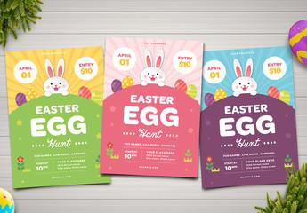Easter Egg Hunt Flyer Layout with Bunny Illustration