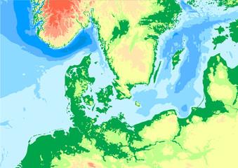 Danmark physical map.
