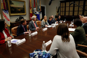 White House senior advisor Ivanka Trump holds a round table discussion with members of congress and the private sector about anti-sex trafficking