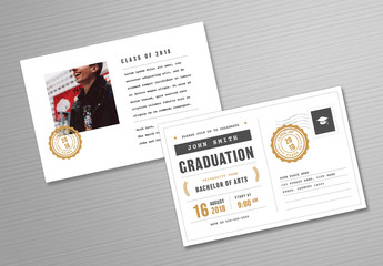 Graduation Invitation Postcard Layout with Gold Accents