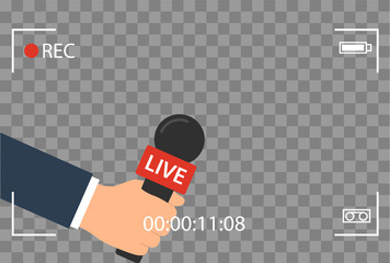 background with camera frame and record or rec vector isolated. focus TV in live news flat design. hand holding mic cartoon. Journalism and Microphone with journalist modern for sport in press