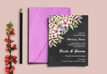 Chalkboard Wedding Invitation with Floral Corner 1