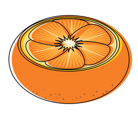 orange slice icon over white background, colorful design. vector illustration