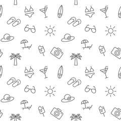 Seamless summer vacation icons pattern vector on white backgroun