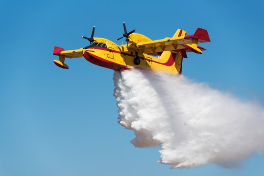 Canadair water bomber  dropping water