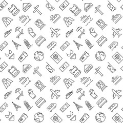 Seamless travel pattern vector on white background