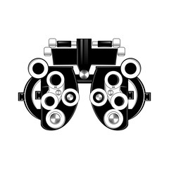 Phoropter glyph icon. Refractor. Ophthalmic testing device. Vector illustration.