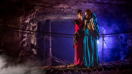 Mysterious witches on the suspension bridge in the dungeon.