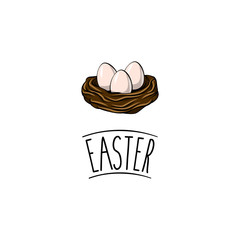 Easter eggs. Cute Easter greeting card, bird nest and three eggs. Vector illustration.
