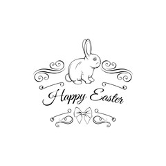 Easter card with bunny, bow and swirls. Greeting card decorations. Vector illustration.