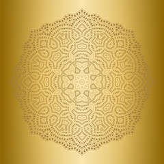 Ethnicity round lace ornament. Gold background. Light, shiny, glow mandala in ethnic style. Oriental circular golden pattern. Arabic, Islamic, moroccan, asian, indian native african motifs.