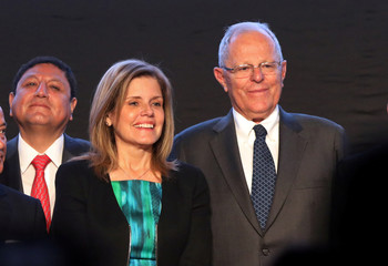 Peru's President Pedro Pablo Kuczynski and Prime Minister and Second Vice-President Mercedes Araoz participate in an event to present a balance of Peru's exports during 2017 in Lima