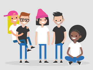 International group of young friends. Diversity. Millennials. Full length characters. Flat editable vector illustration, clip art