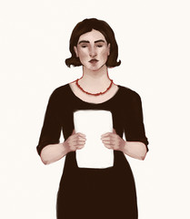 Woman with a paper, illustration