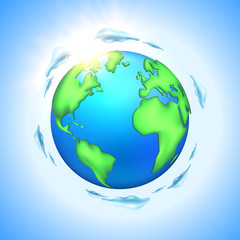 Vector cartoon earth planet globe