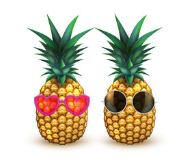 Pineapple in sunglasses realistic summer fruit