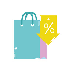 colorful shopping bag market with arrow percent