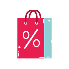 colorful shopping bag object with market percent