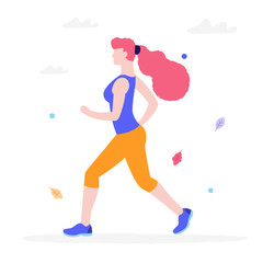 Young woman jogging in the park vector flat illustration isolated on white background. Girl in sportswear running and doing sports keeping healthy lifestyle.