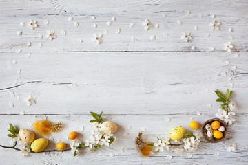 Easter background with flowering branches, nest and yellow eggs