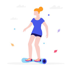 Girl riding a gyroscooter flat illustration isolated on a white background. Young woman on a hoverboard rides in a park.