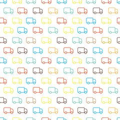 Seamless cute color trucks pattern on white background