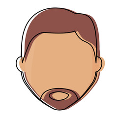 avatar man face with beard icon over white background, colorful design.  vector illustration