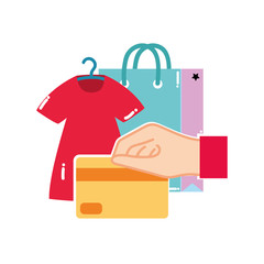 colorful dress clothes and hand with credit card