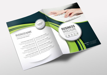 Brochure Cover Layout with Blue and Green Accents 17