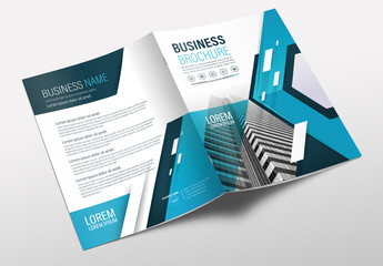 Brochure Cover Layout with Teal and Black Accents 4