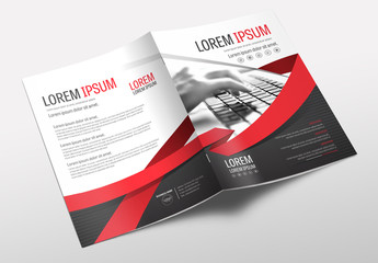 Brochure Cover Layout with Gray and Red Accents 4