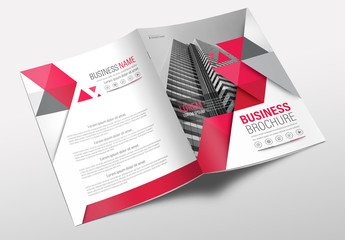 Brochure Cover Layout with Gray and Red Accents 5