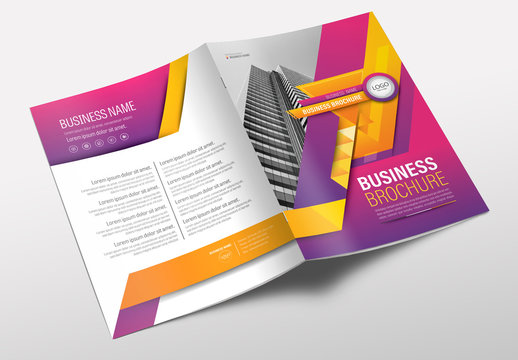 Brochure Cover Layout with Purple and Orange Accents 2