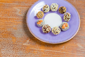 oriental dried fruits with nuts, Turkish sweets on a plate