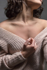 woman portrait shoulder nude black background beautiful feeling love emotions