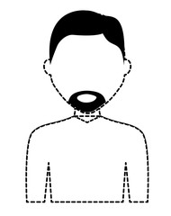 avatar man with beard icon over white background, vector illustration
