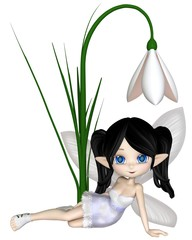 Cute toon dark haired snowdrop fairy in a white snowflake dress sitting by a spring snowdrop flower, 3d digitally rendered illustration