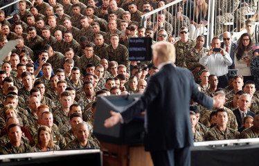 U.S. President Donald Trump speaks at Marine Corps Air Station Miramar in San Diego