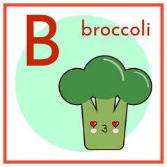 Fruits and Vegetables Alphabet for Education. Great for Kids Education. Letter B for Broccoli Flat vector illustration EPS
