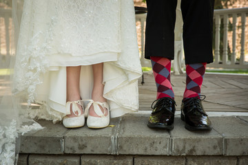 Bride and groom wedding socks and shoes