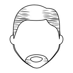sketch of avatar man face with beard icon over white background, vector illustration