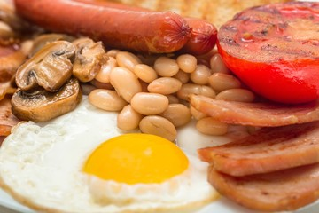 English Breakfast on the Plate - Close Up