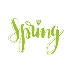 Spring - hand drawn lettering. Text in green, easy to change color. Isolated. For cards, postcards, pages, business materials.