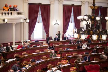 Pro-gun supporters watch the Vermont State Legislature prior to the annual Sportsmen's Legislative Mixer in Montpelier