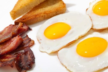 Breakfast meal - eggs, toast and bacon