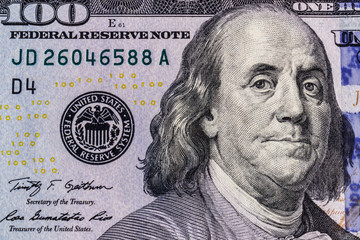 Closeup of Ben Franklin on a one hundred dollar bill for background II